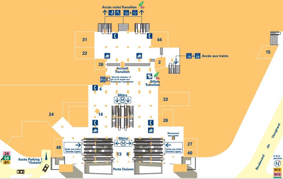 Plan niveau 0 gare Montparnasse