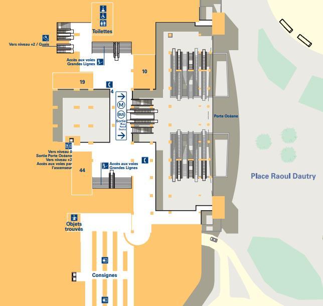 Plan niveau 1 gare Montparnasse