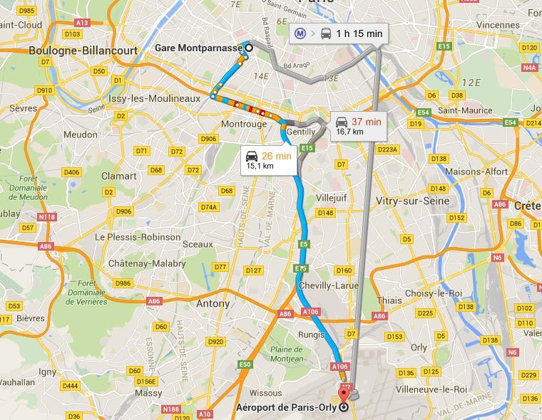 Trajet gare Montparnasse aéroport d'orly