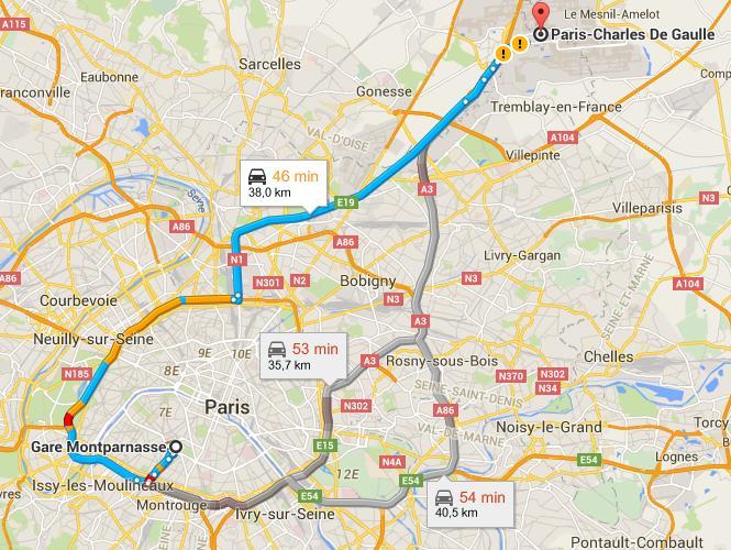 Trajet gare Montparnasse aéroport de Roissy Charles de Gaulle