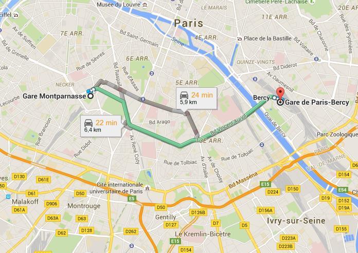 Trajet gare Montparnasse gare de bercy