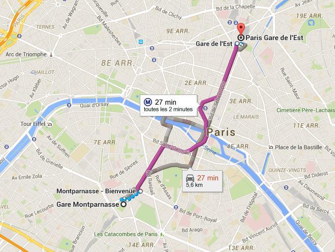 Trajet gare Montparnasse gare de l'Est