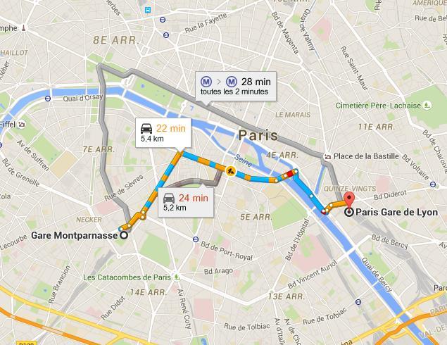 Trajet gare Montparnasse gare de Lyon