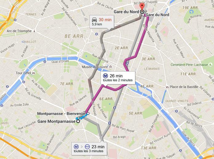 Trajet gare Montparnasse gare de Nord